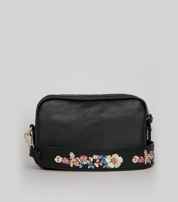 Black Floral Embroidered Strap Camera Bag