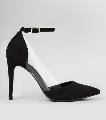 Black Suedette Clear Side Ankle Strap Heels