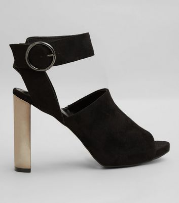 Black Suedette Metallic Block Heels