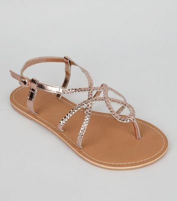 Wide Fit Rose Gold Leather Plaited Sandals