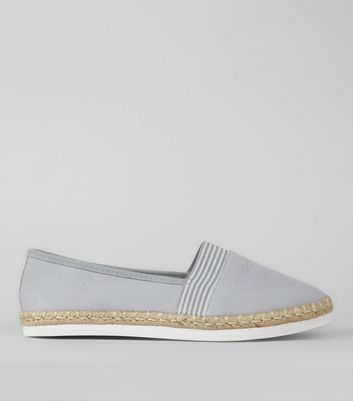 Wide Fit – Graue Canvas-Espadrilles mit Kontraststreifen