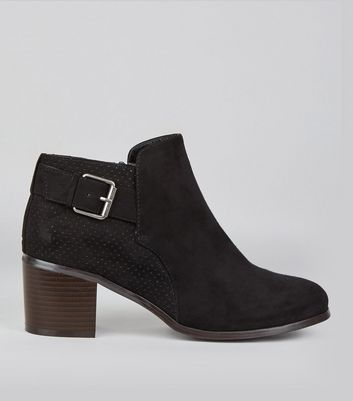 Wide Fit Black Perforated Back Buckle Strap Boots