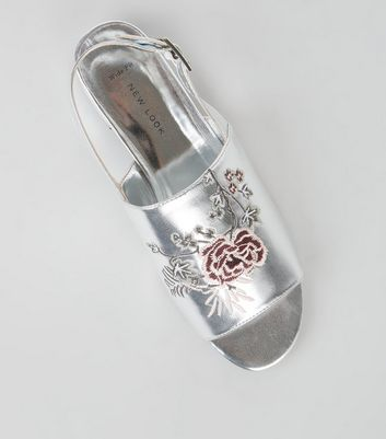Wide Fit Silver Patent Embroidered Mules