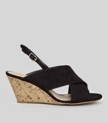Wide Fit Black Suedette Cross Strap Cork Wedge Heels