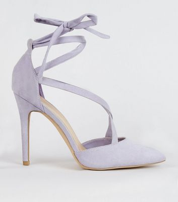 Lilac Suedette Strappy Pointed Heels