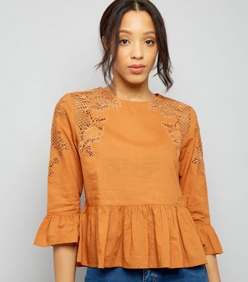 Orange Peplum Hem Crochet Shoulder Top