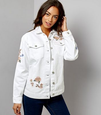 White Floral Embroidered Oversized Denim Jacket