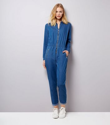 Blue Zip Front Long Sleeve Jumpsuit