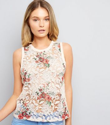 Shell Pink Lace Floral Embroidered Sleeveless Top