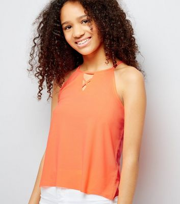 Teens Orange Crepe Jersey Lattice Front Cami