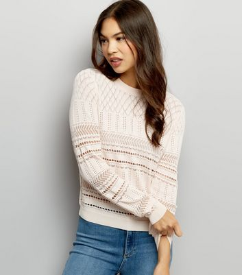 Shell Pink Cut Out Long Sleeve Jumper