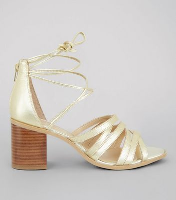 Gold Leather Cross Strap Heeled Sandals