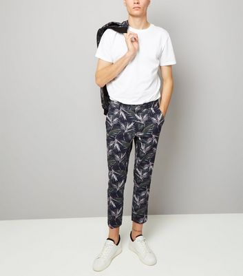 Navy Palm Print Tailored Slim Leg Trousers