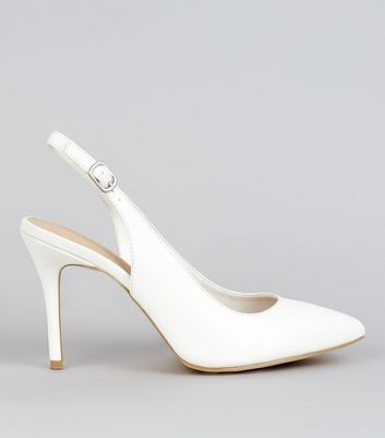 White Comfort Patent Sling Back Pointed Heels