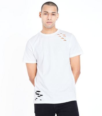 White Ripped Short Sleeve T-Shirt