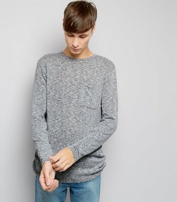 Grey Fine Knit Pocket Front Jumper