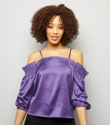 Purple Satin Shirred Shoulder Bardot Neck Top