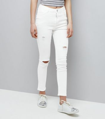 Teens White Ripped High Waist Skinny Jeans