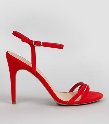 Red Suedette Double Strap Heeled Sandals