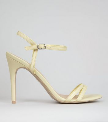 Yellow Double Strap Front Heeled Sandals