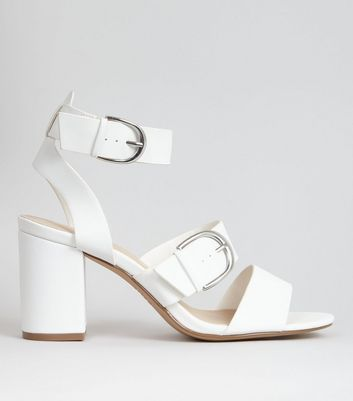 White Buckle Strap Chunky Heeled Sandals