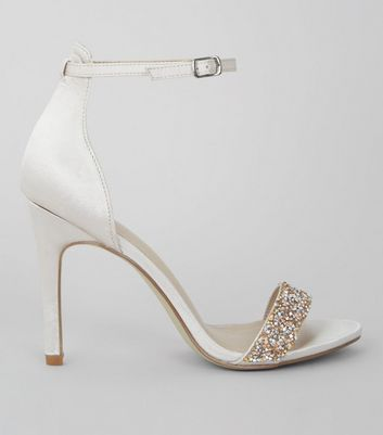 Silver Satin Beaded Heeled Sandals