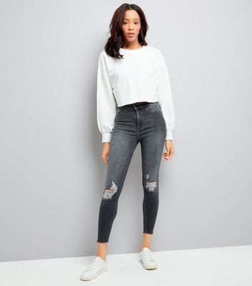 Black Fray Hem High Waist Skinny Hallie Jeans