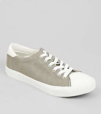 Grey Contrast Toe Trainers