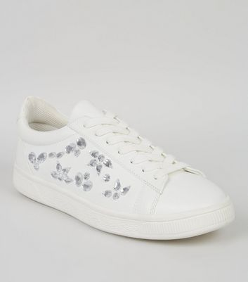 White Jewel Side Trainers