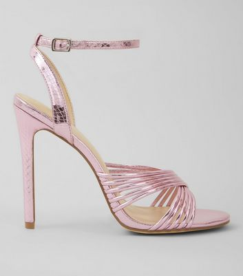 Pink Metallic Multi Strap Heeled Sandals