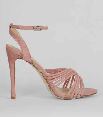Pink Suedette Strappy Heeled Sandals