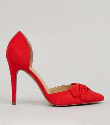 Red Suedette Bow Front Pointed Court Shoes