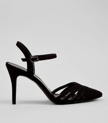 Black Multi Strap Pointed Toe Heels