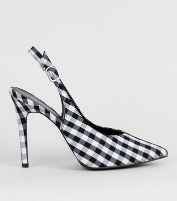 Black Gingham Pointed Sling Back Heels