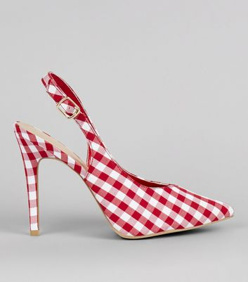 Red Gingham Pointed Sling Black Heels
