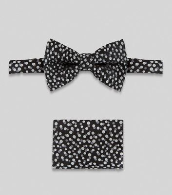 2 Pack Black Spot Print Bow Tie and Hanky