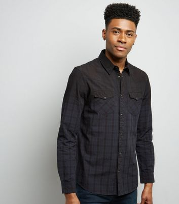 Navy Check Ombre Long Sleeve Shirt