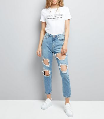 Blue Ripped Tori Skinny Mom Jeans