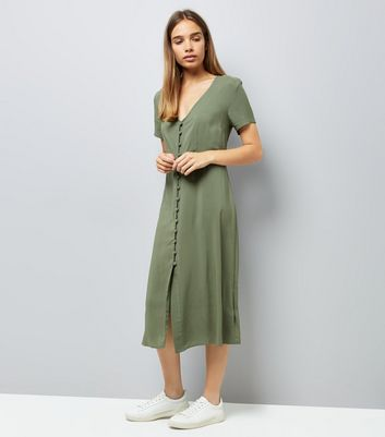 Khaki V Neck Button Front Midi Dress