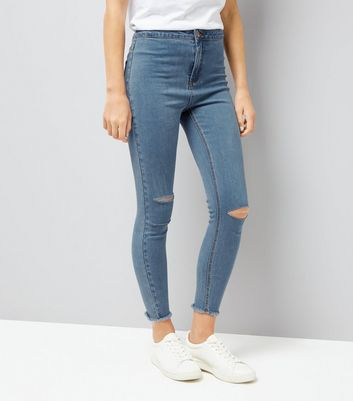 Blue Ripped Knee High Waist Super Skinny Hallie Jeans
