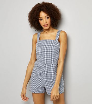 Blue Gingham Check Tie Back Playsuit