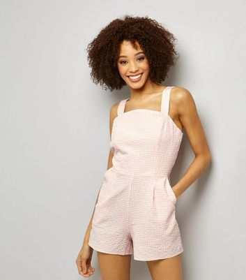 Pink Gingham Check Tie Back Playsuit