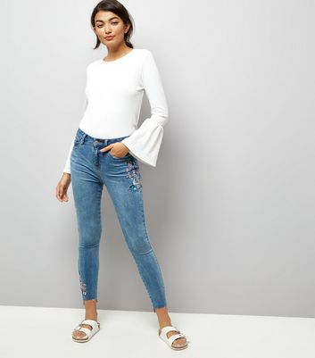 Blue Bird Embroidered Skinny Jenna Jeans