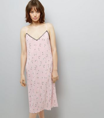Pink Floral Print Pleated Midi Slip Dress