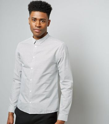 Off White Grain Print Long Sleeve Shirt