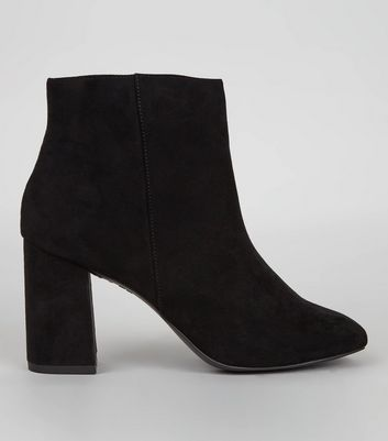 Black Suedette Square Toe Boots