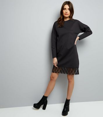 Black Lace Hem Long Sleeve Jumper Dress