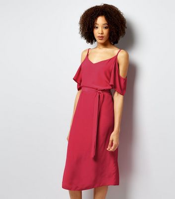 Bright Pink Cold Shoulder Midi Slip Dress