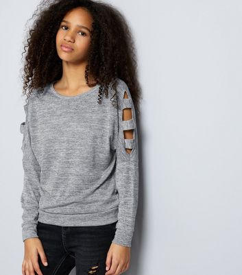 Teens Grey Fine Knit Cut Out Cold Shoulder Jumper