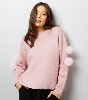 Anita And Green Pink Pom Pom Sleeve Jumper